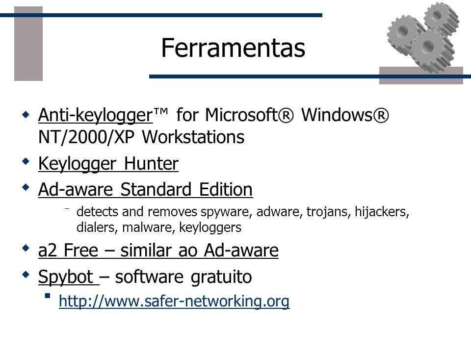 Outras classificações de aplicativos Capturadores de teclas/tela (Keyloggers, Screenloggers) Ficam residentes em memória capturando todas as teclas/te