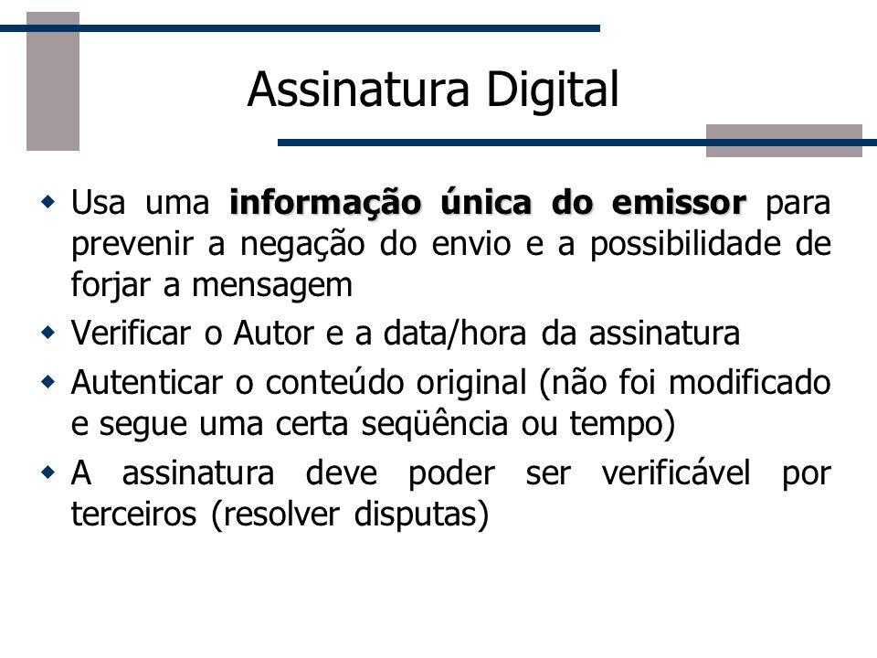 Conceitos de Criptografia na Web Assinatura Digital Resumo da mensagem Certificados Digitais Autoridades Certificadoras