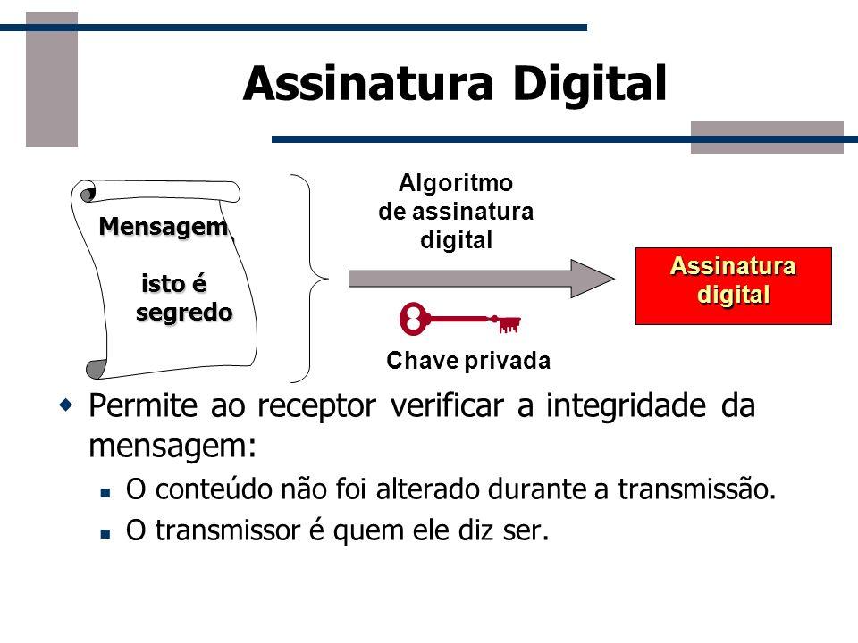 Assinatura Digital Bob Alice Não garante a confidencialidade da Mensagem Mensagem autenticada em termos da fonte e da integridade do dado Chave privad