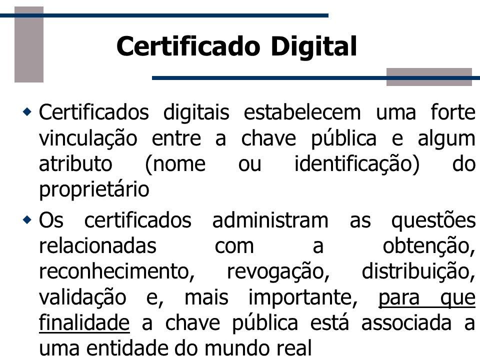 Certificado Digital Resolve a distribuição de chaves Gerenciados pelas Autoridades Certificadoras A certificação das Autoridades Certificadoras é feit
