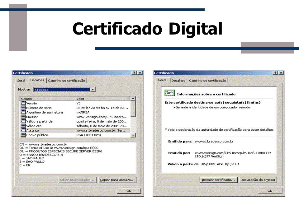 Certificado Digital Certificados digitais estabelecem uma forte vinculação entre a chave pública e algum atributo (nome ou identificação) do proprietá