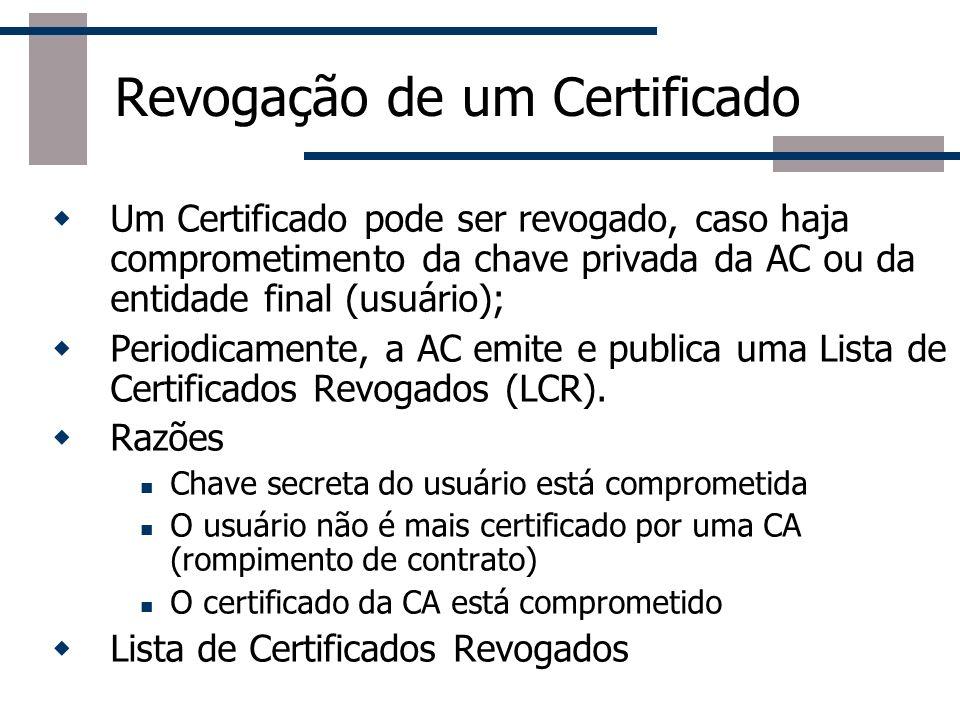 Componentes de uma PKI (ICP) Autoridade Certificadora (ACs ou CAs) Emite, gerencia e revoga certificados de usuários finais É responsável pela autenti