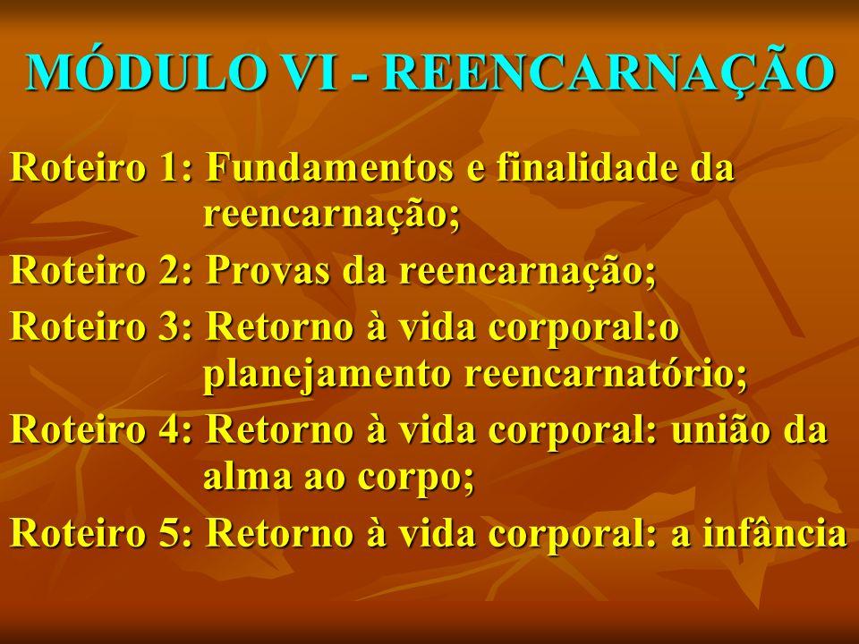 MÓDULO VI - REENCARNAÇÃO Roteiro 1: Fundamentos e finalidade da reencarnação; Roteiro 2: Provas da reencarnação; Roteiro 3: Retorno à vida corporal:o
