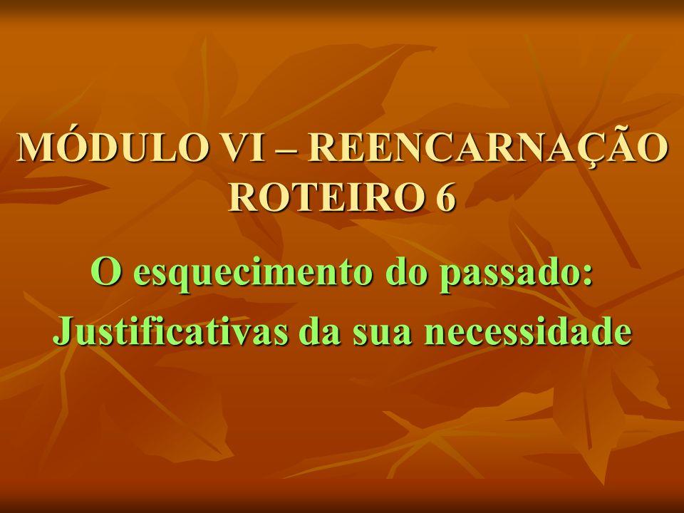 MÓDULO VI – REENCARNAÇÃO ROTEIRO 6 O esquecimento do passado: Justificativas da sua necessidade