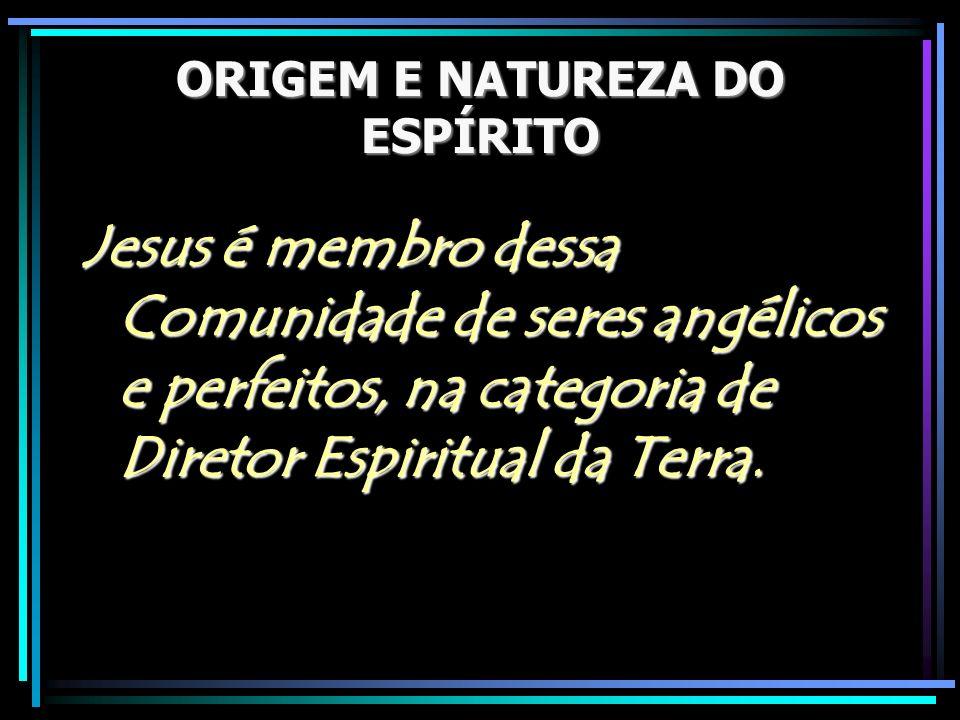 ORIGEM E NATUREZA DO ESPÍRITO Jesus é membro dessa Comunidade de seres angélicos e perfeitos, na categoria de Diretor Espiritual da Terra.