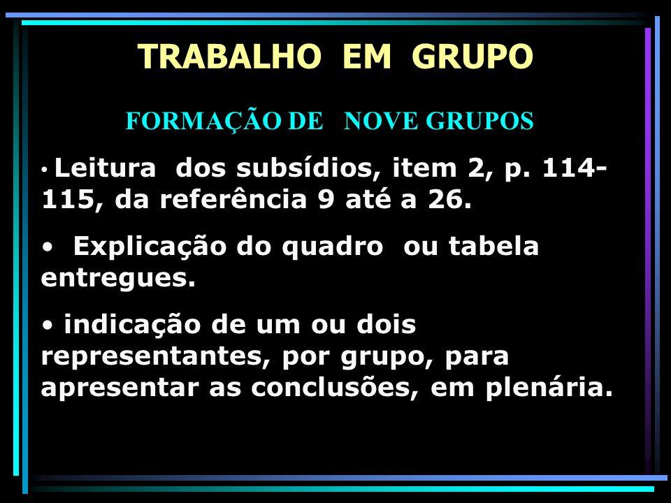 TRABALHO EM GRUPO FORMAÇÃO DE NOVE GRUPOS Leitura dos subsídios, item 2, p. 114- 115, da referência 9 até a 26. Explicação do quadro ou tabela entregu
