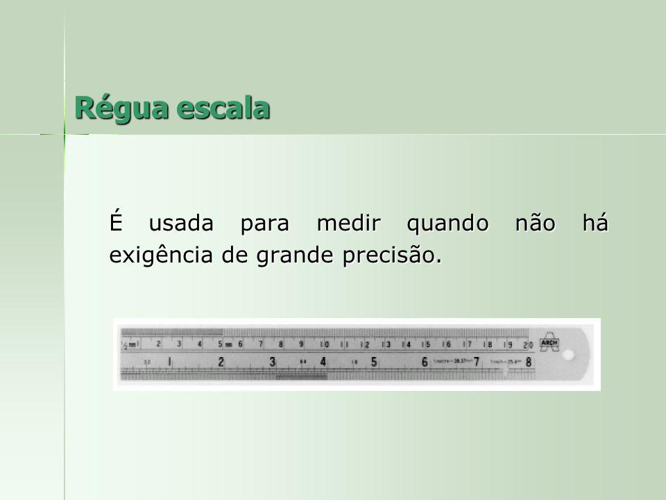 Régua escala É usada para medir quando não há exigência de grande precisão.
