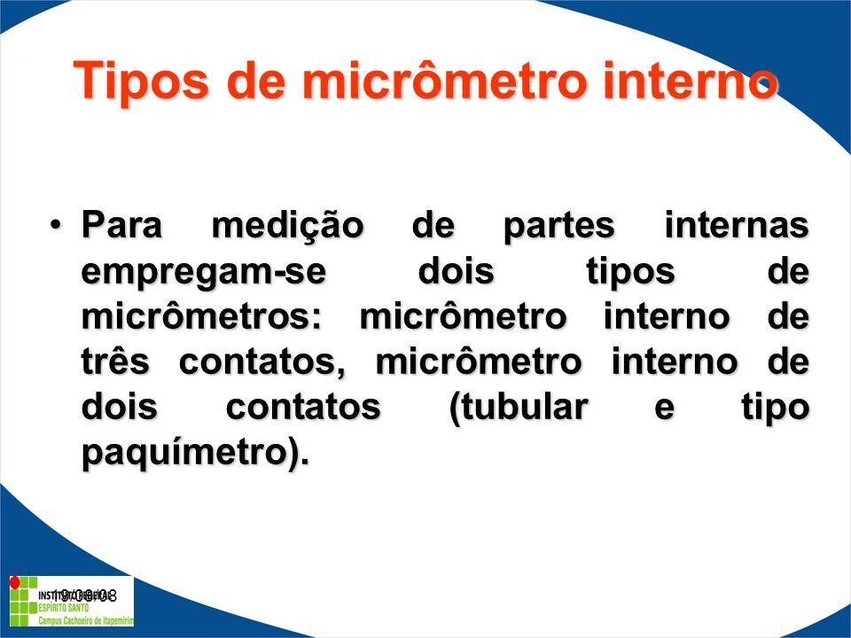 19/08/08 Tipos de micrômetro interno Para medição de partes internas empregam-se dois tipos de micrômetros: micrômetro interno de três contatos, micrômetro interno de dois contatos (tubular e tipo paquímetro).Para medição de partes internas empregam-se dois tipos de micrômetros: micrômetro interno de três contatos, micrômetro interno de dois contatos (tubular e tipo paquímetro).