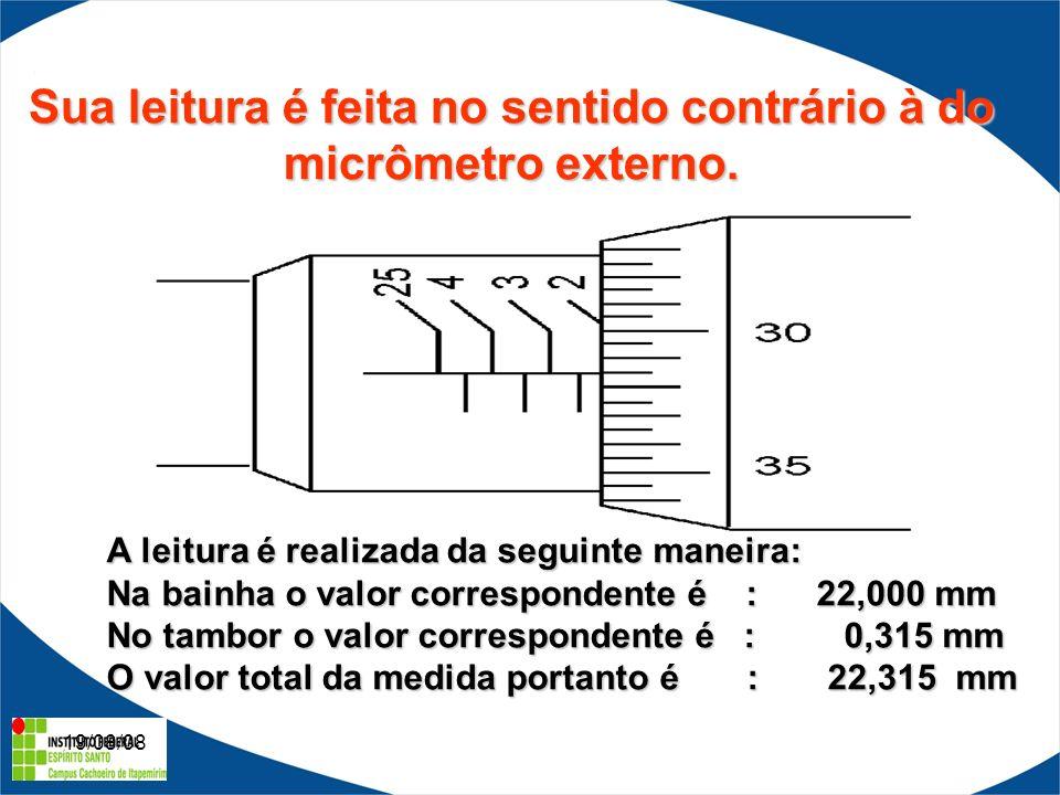 19/08/08 Sua leitura é feita no sentido contrário à do micrômetro externo.