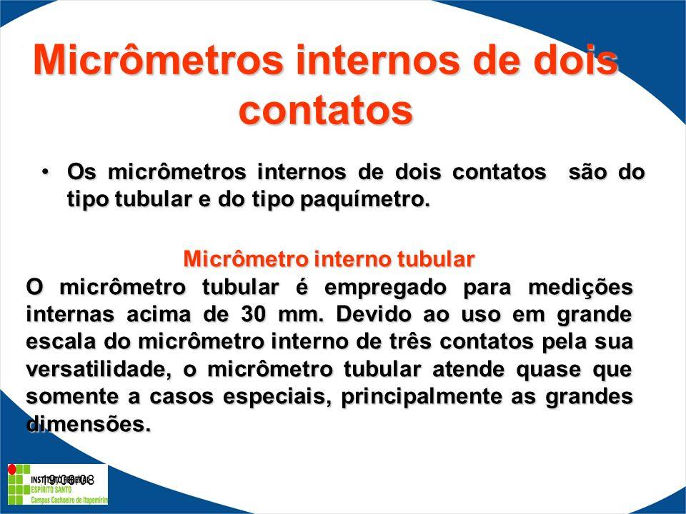 19/08/08 Micrômetros internos de dois contatos Os micrômetros internos de dois contatos são do tipo tubular e do tipo paquímetro.Os micrômetros internos de dois contatos são do tipo tubular e do tipo paquímetro.
