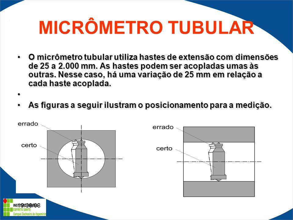 19/08/08 MICRÔMETRO TUBULAR O micrômetro tubular utiliza hastes de extensão com dimensões de 25 a 2.000 mm.