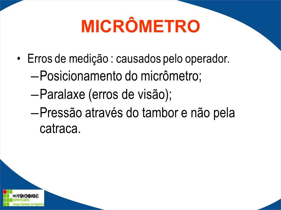 19/08/08 1- Micrômetros de medição externa; 2- Micrômetros de medição interna; 3- Micrômetros de medição de dentes de engrenagens; 4- Micrômetros de medição de rôscas; etc..