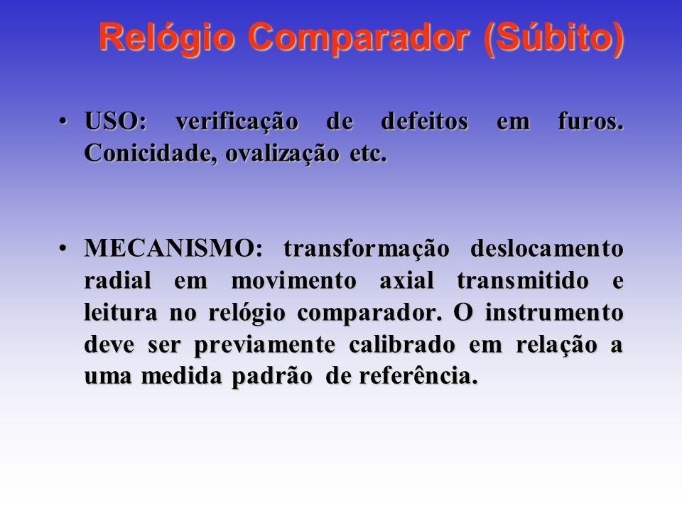 Relógio Comparador (Súbito) USO: verificação de defeitos em furos. Conicidade, ovalização etc.USO: verificação de defeitos em furos. Conicidade, ovali
