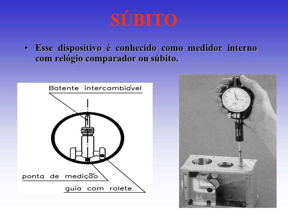 SÚBITO Esse dispositivo é conhecido como medidor interno com relógio comparador ou súbito.Esse dispositivo é conhecido como medidor interno com relógi