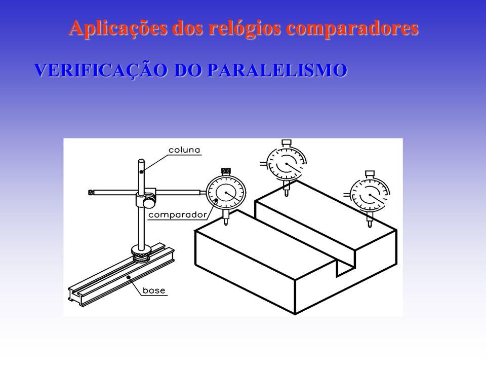 Aplicações dos relógios comparadores VERIFICAÇÃO DO PARALELISMO
