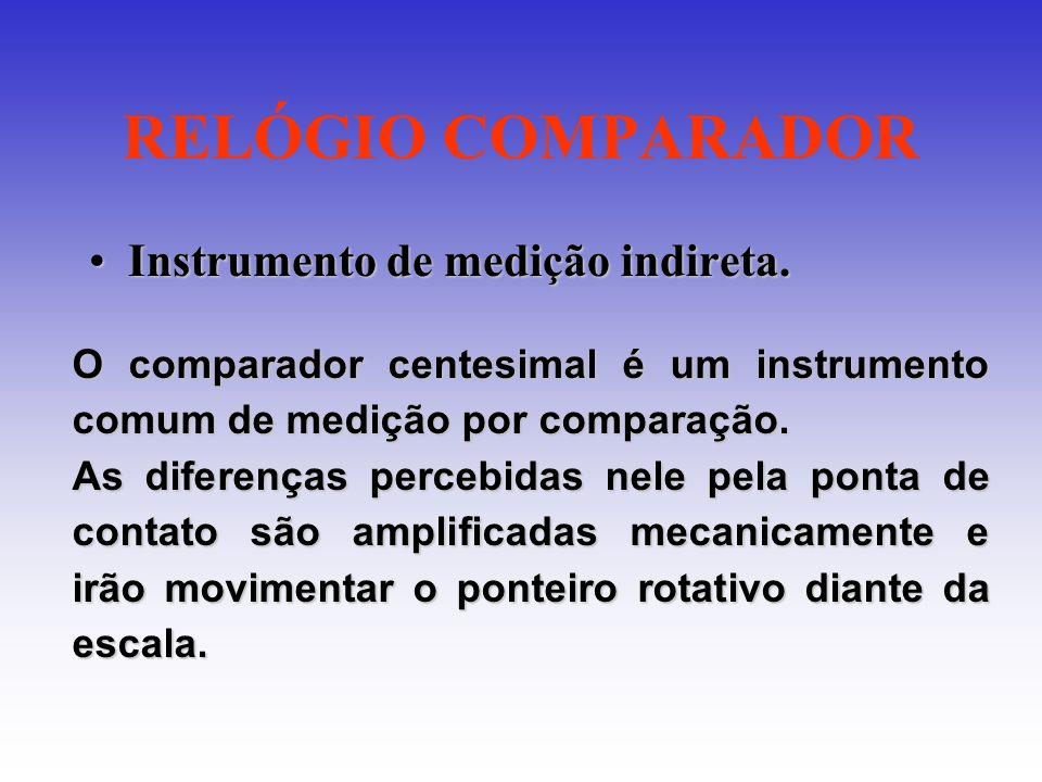 RELÓGIO COMPARADOR Instrumento de medição indireta.Instrumento de medição indireta. O comparador centesimal é um instrumento comum de medição por comp