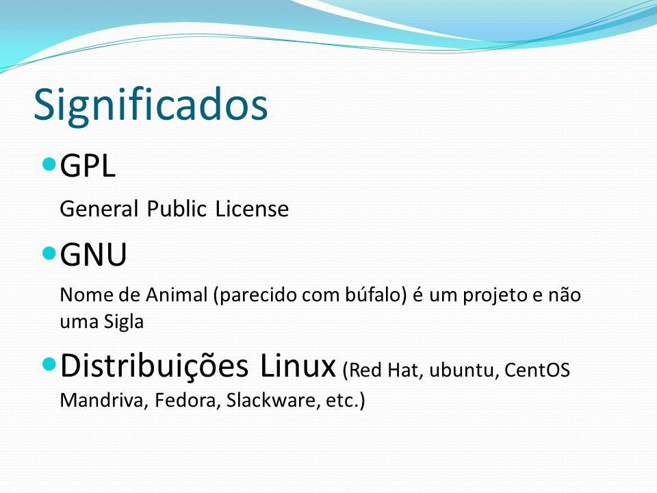 Licença GPL O Linux está sob a licença GPL, permite que qualquer um possa usar os programas que estão sob ela, com o compromisso de não tornar os programas fechados e comercializados.