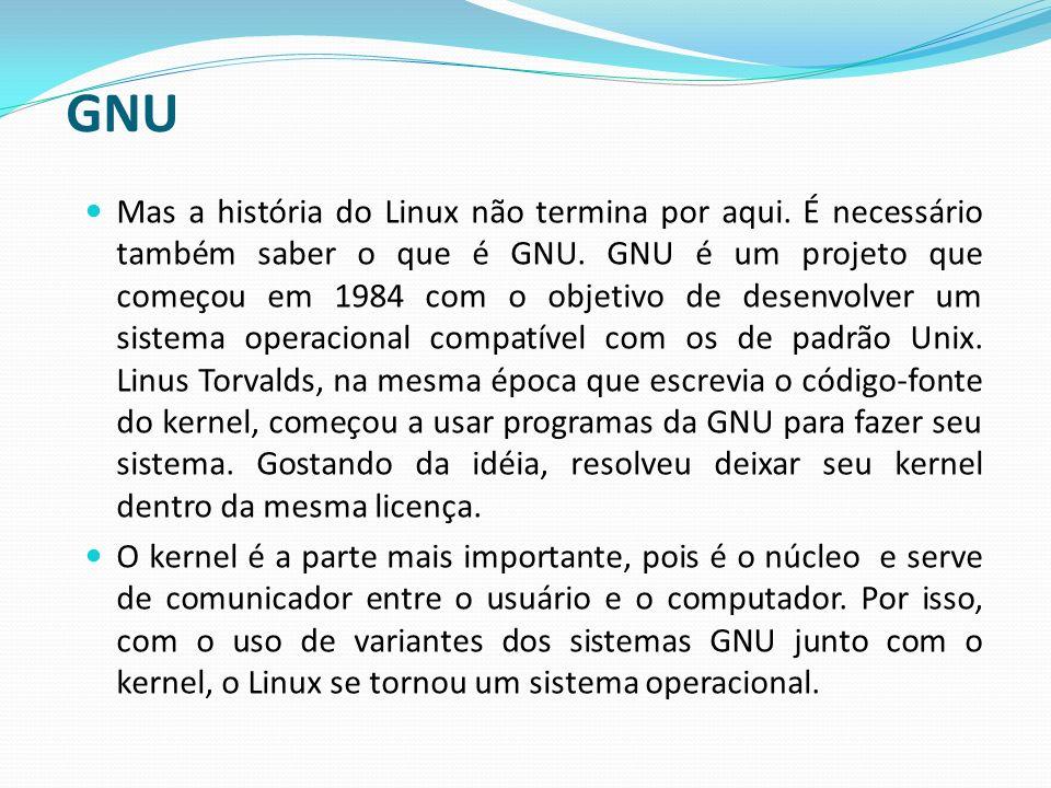 Visão Geral do Linux O linux Possui varias características que diferenciam dos outros sistemas operacionais e que aproximam do UNIX, sendo um dos motivos da sua escolha em várias aplicações nas quais são necessárias estabilidade e segurança.
