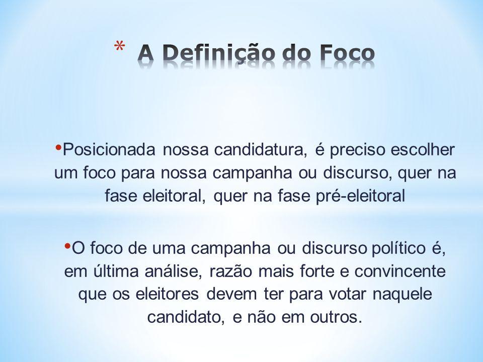 Posicionada nossa candidatura, é preciso escolher um foco para nossa campanha ou discurso, quer na fase eleitoral, quer na fase pré-eleitoral O foco d