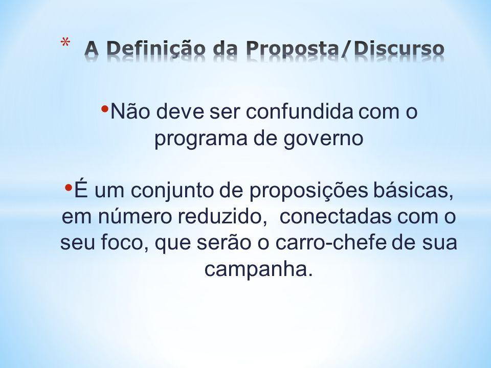 Não deve ser confundida com o programa de governo É um conjunto de proposições básicas, em número reduzido, conectadas com o seu foco, que serão o car