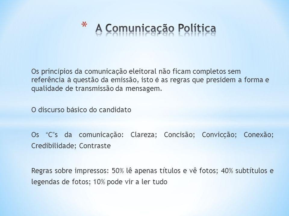 Os princ í pios da comunica ç ão eleitoral não ficam completos sem referência à questão da emissão, isto é as regras que presidem a forma e qualidade