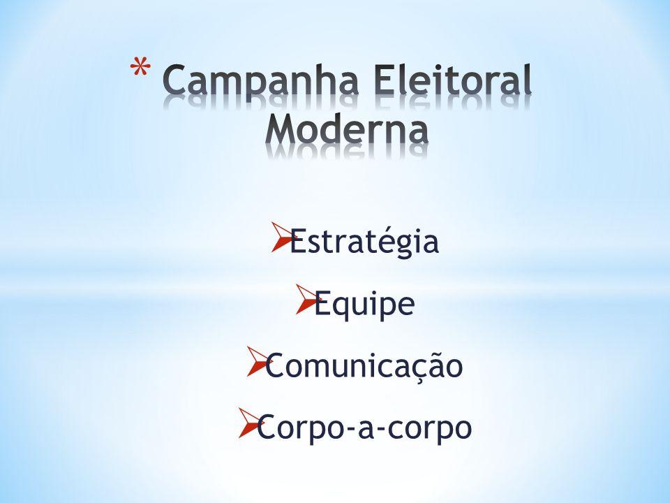 1 - Definição de posicionamento, foco, propostas principais, discurso básico); 2 - Plano Financeiro; 3 - Plano logístico; 4 - Definição dos passos adequados a cada fase da campanha