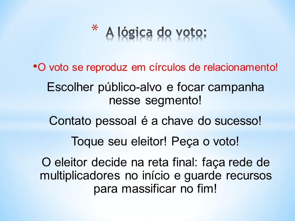 O voto se reproduz em círculos de relacionamento! Escolher público-alvo e focar campanha nesse segmento! Contato pessoal é a chave do sucesso! Toque s