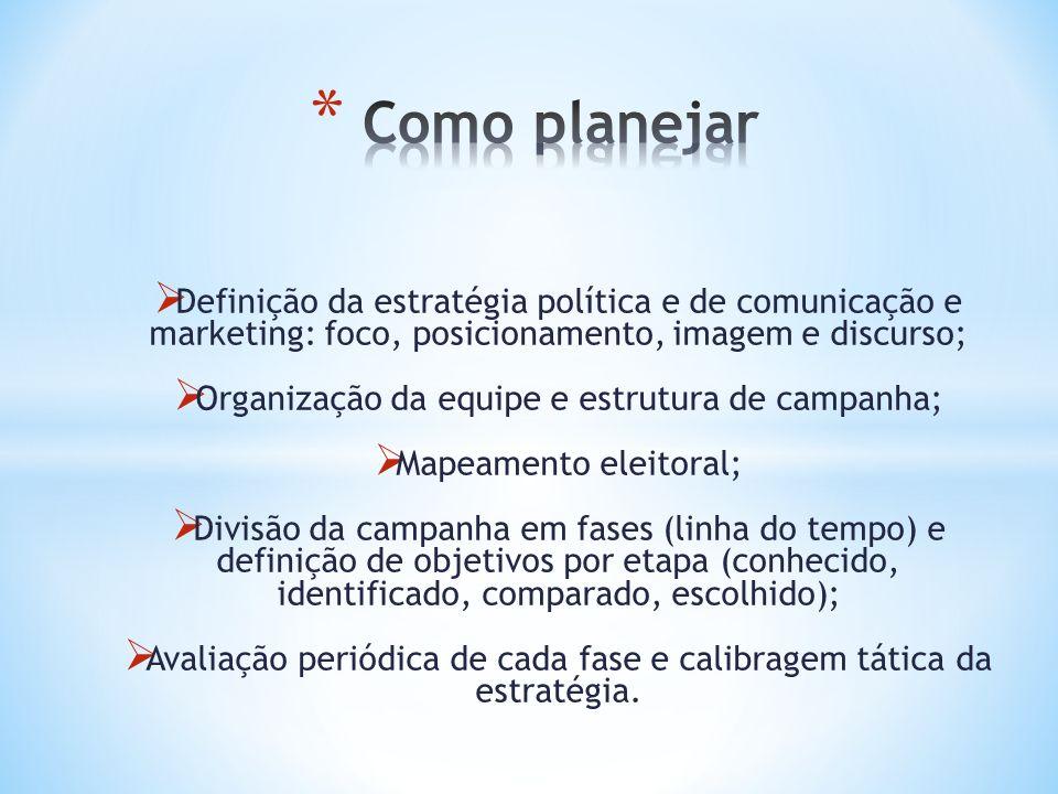 Definição da estratégia política e de comunicação e marketing: foco, posicionamento, imagem e discurso; Organização da equipe e estrutura de campanha;