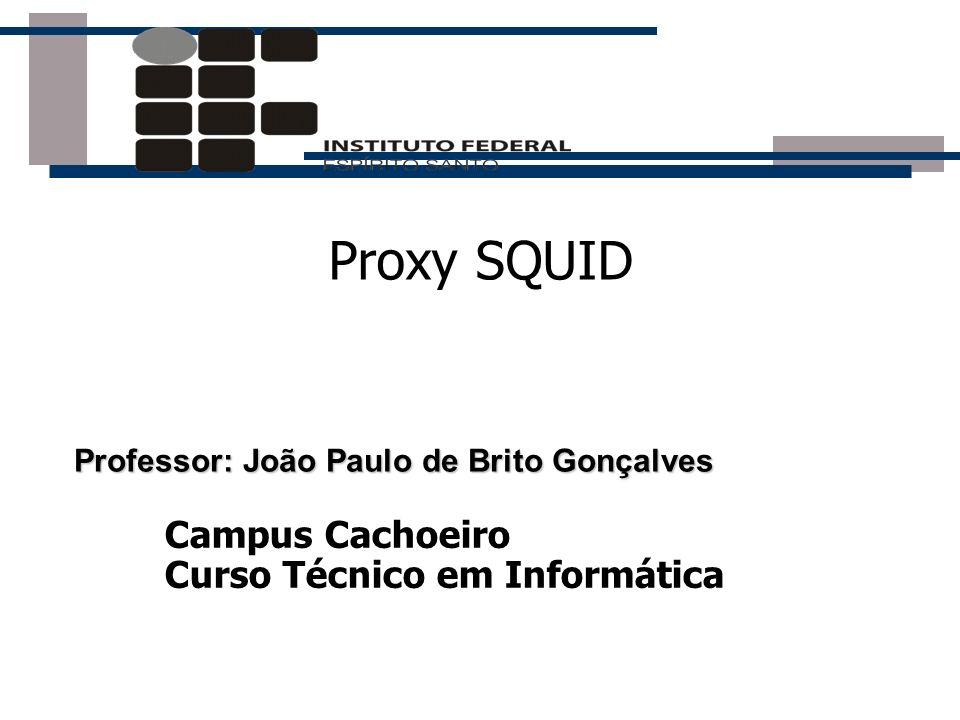 Proxy SQUID Professor: João Paulo de Brito Gonçalves Campus Cachoeiro Curso Técnico em Informática