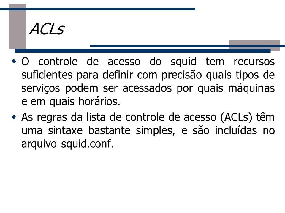 O controle de acesso do squid tem recursos suficientes para definir com precisão quais tipos de serviços podem ser acessados por quais máquinas e em q