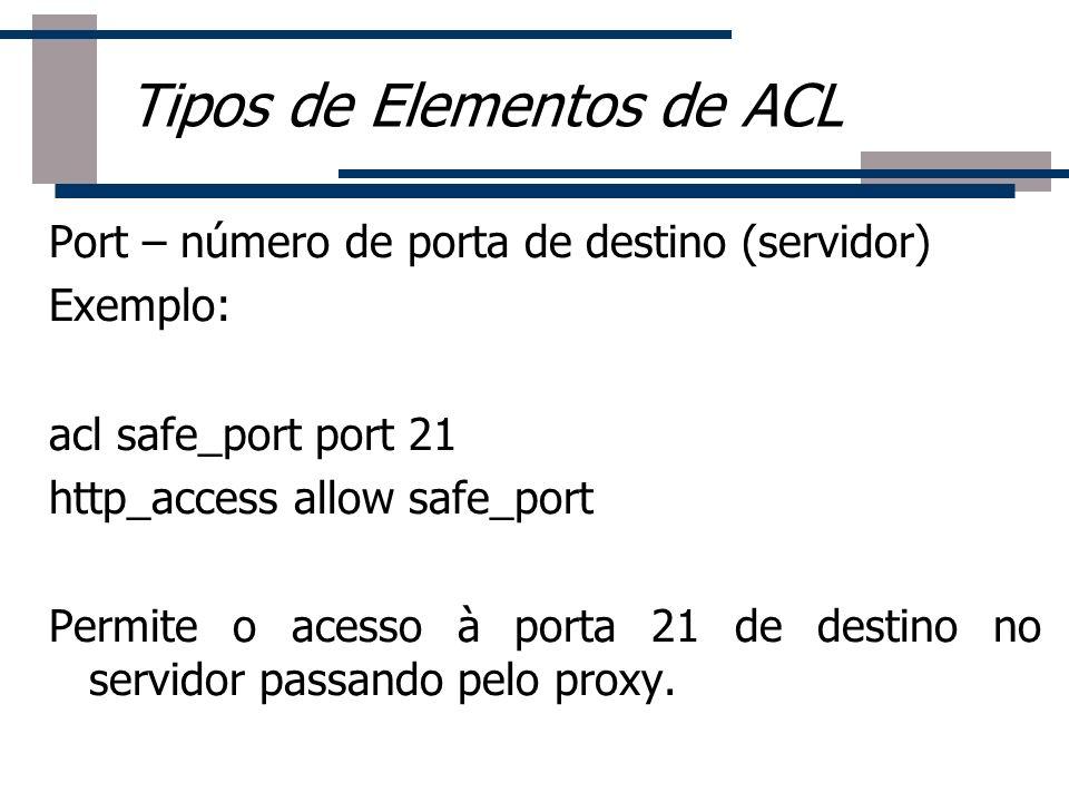 Roteador Port – número de porta de destino (servidor) Exemplo: acl safe_port port 21 http_access allow safe_port Permite o acesso à porta 21 de destin