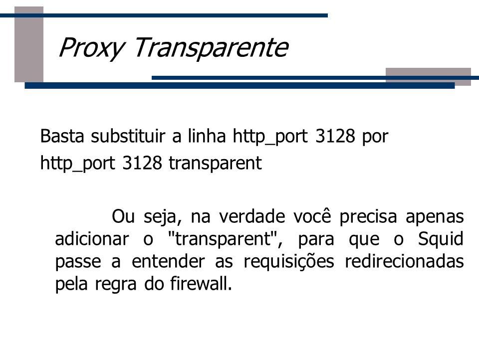 Basta substituir a linha http_port 3128 por http_port 3128 transparent Ou seja, na verdade você precisa apenas adicionar o