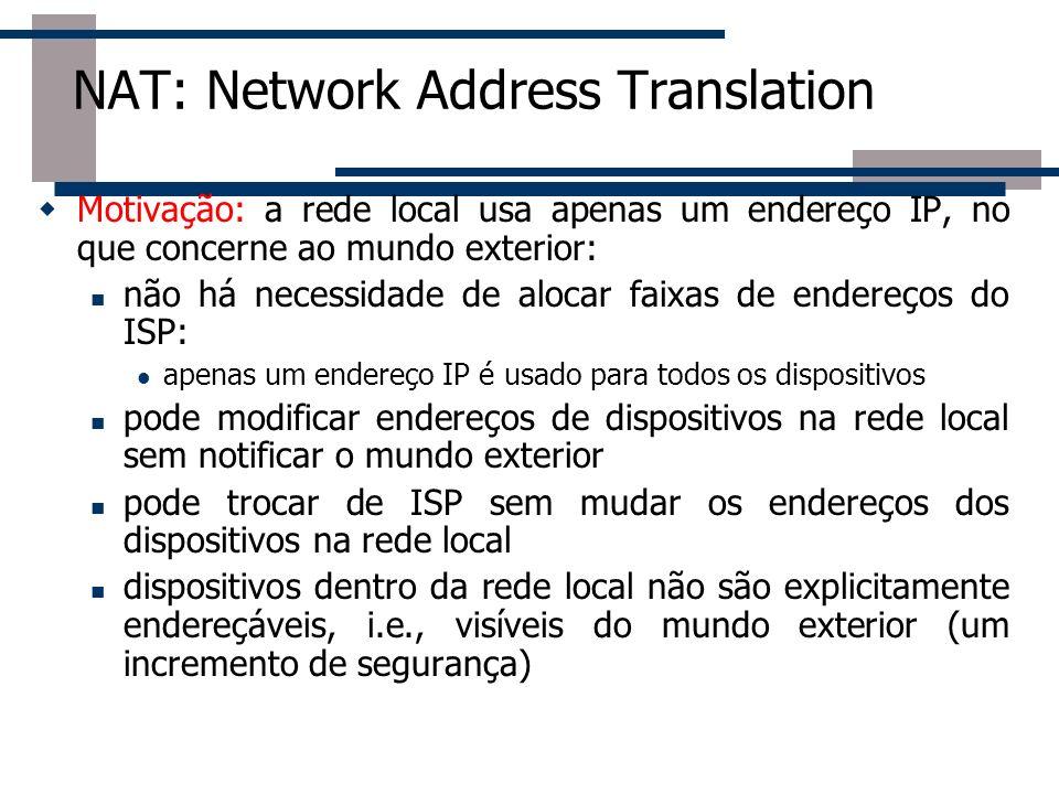 NAT: Network Address Translation Motivação: a rede local usa apenas um endereço IP, no que concerne ao mundo exterior: não há necessidade de alocar fa
