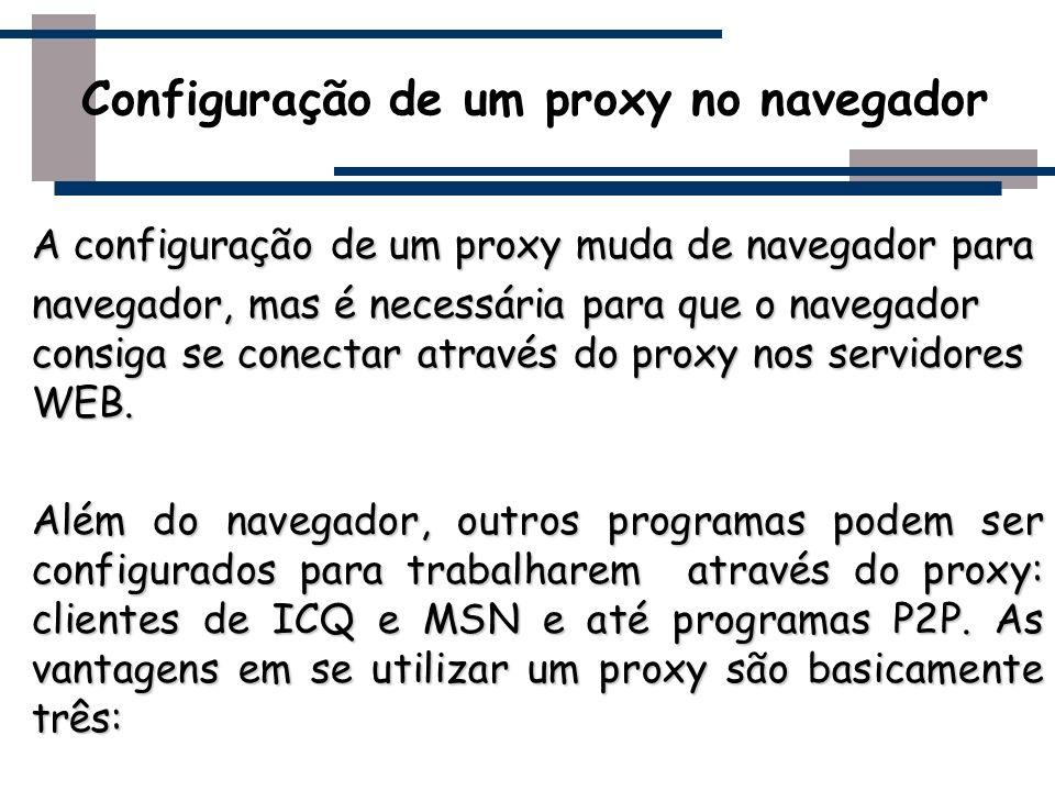 A configuração de um proxy muda de navegador para navegador, mas é necessária para que o navegador consiga se conectar através do proxy nos servidores