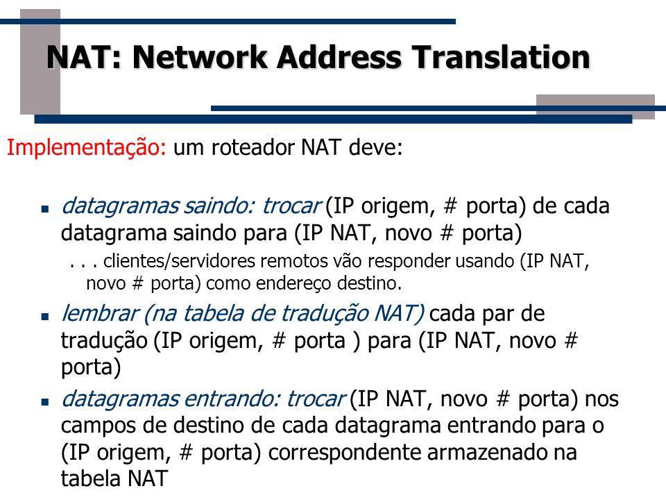 NAT: Network Address Translation Implementação: um roteador NAT deve: datagramas saindo: trocar (IP origem, # porta) de cada datagrama saindo para (IP