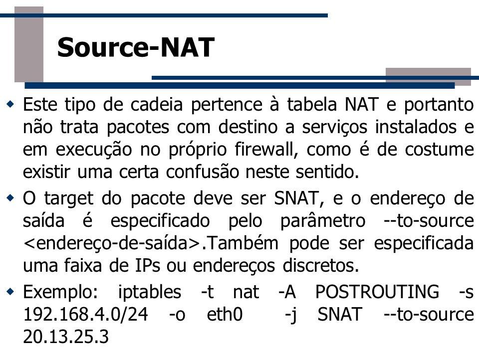 Este tipo de cadeia pertence à tabela NAT e portanto não trata pacotes com destino a serviços instalados e em execução no próprio firewall, como é de