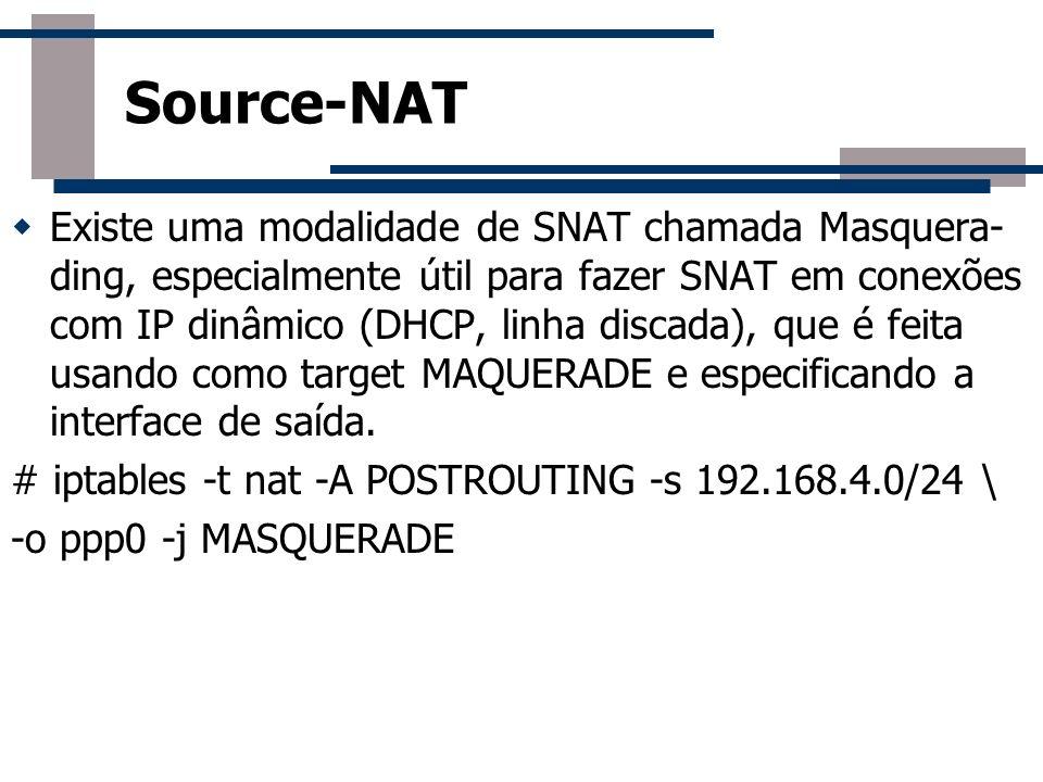 Existe uma modalidade de SNAT chamada Masquera- ding, especialmente útil para fazer SNAT em conexões com IP dinâmico (DHCP, linha discada), que é feit