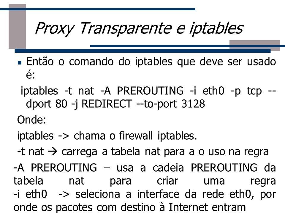 Então o comando do iptables que deve ser usado é: iptables -t nat -A PREROUTING -i eth0 -p tcp -- dport 80 -j REDIRECT --to-port 3128 Onde: iptables -