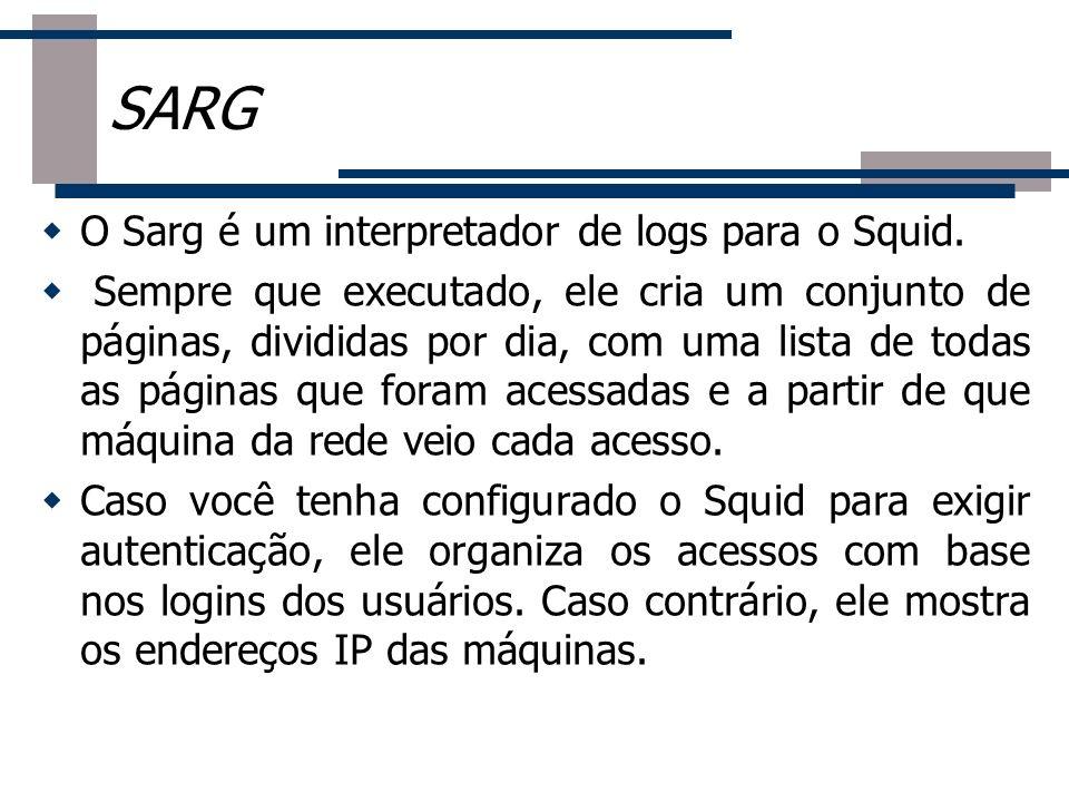 O Sarg é um interpretador de logs para o Squid. Sempre que executado, ele cria um conjunto de páginas, divididas por dia, com uma lista de todas as pá