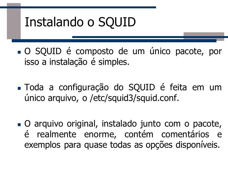 Roteador Instalando o SQUID O SQUID é composto de um único pacote, por isso a instalação é simples. Toda a configuração do SQUID é feita em um único a