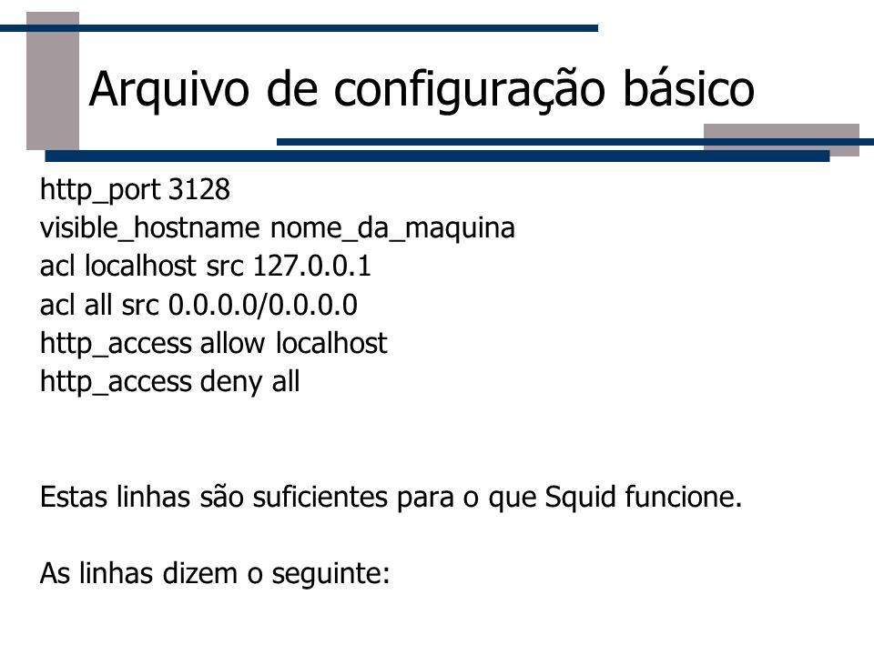 Roteador Arquivo de configuração básico http_port 3128 visible_hostname nome_da_maquina acl localhost src 127.0.0.1 acl all src 0.0.0.0/0.0.0.0 http_a