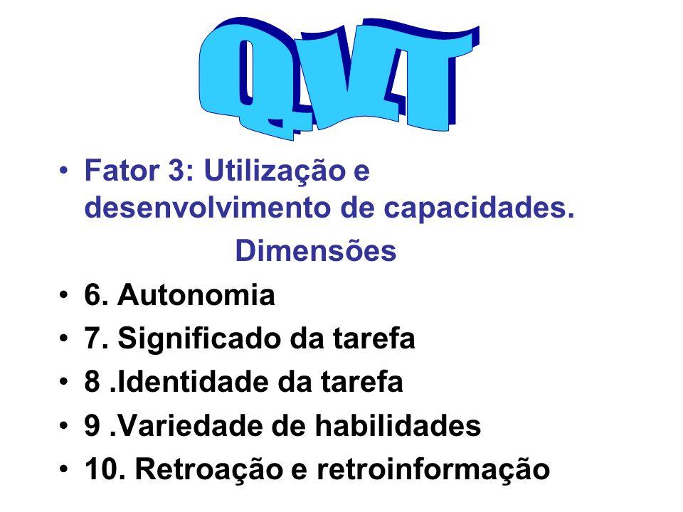 Fator 3: Utilização e desenvolvimento de capacidades. Dimensões 6. Autonomia 7. Significado da tarefa 8.Identidade da tarefa 9.Variedade de habilidade