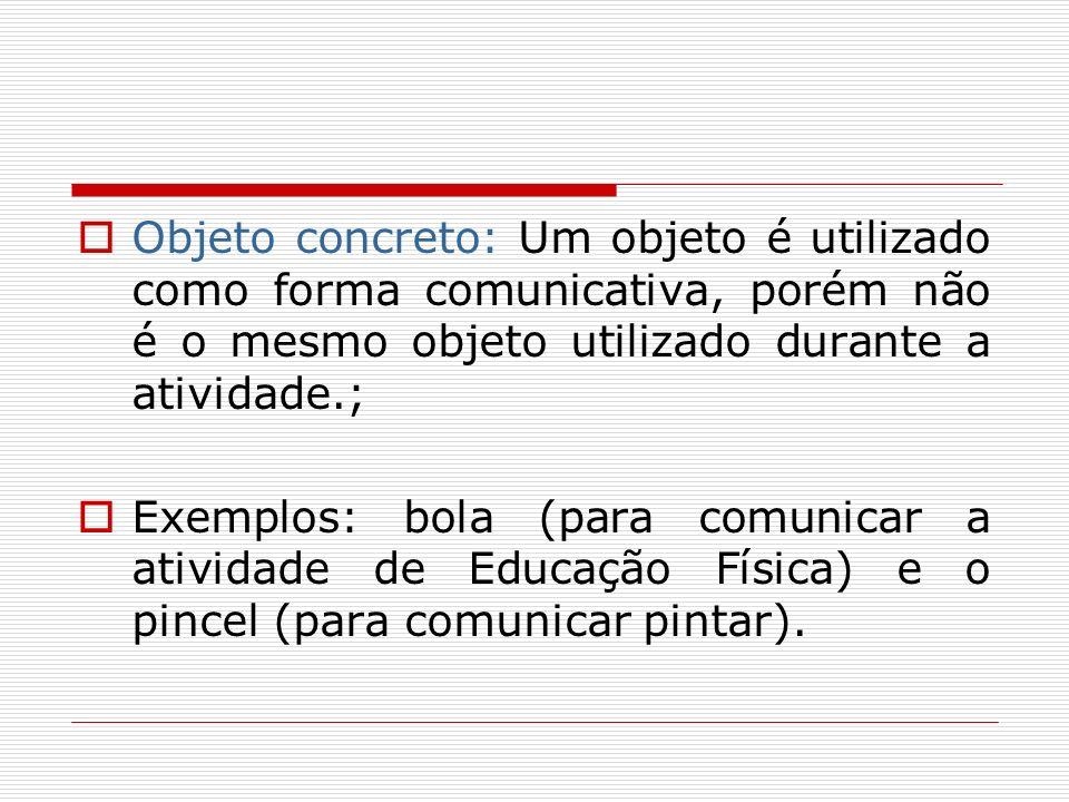 Objeto concreto: Um objeto é utilizado como forma comunicativa, porém não é o mesmo objeto utilizado durante a atividade.; Exemplos: bola (para comuni