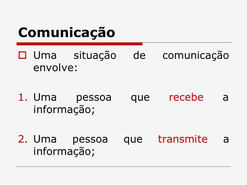 Comunicação Uma situação de comunicação envolve: 1.Uma pessoa que recebe a informação; 2.Uma pessoa que transmite a informação;