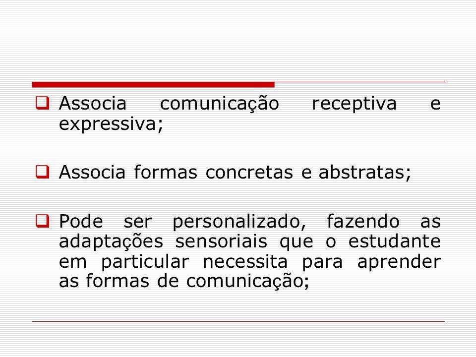 Associa comunica ç ão receptiva e expressiva; Associa formas concretas e abstratas; Pode ser personalizado, fazendo as adapta ç ões sensoriais que o e