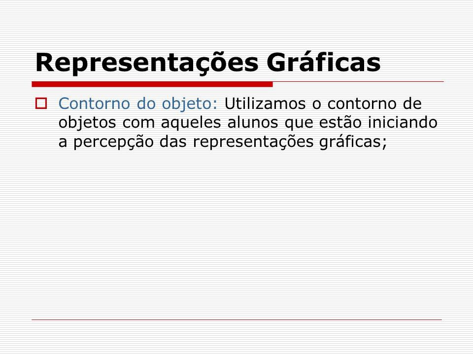 Representações Gráficas Contorno do objeto: Utilizamos o contorno de objetos com aqueles alunos que estão iniciando a percepção das representações grá