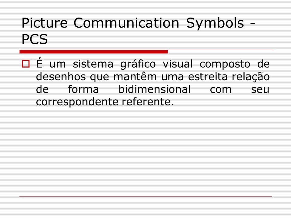 Picture Communication Symbols - PCS É um sistema gráfico visual composto de desenhos que mantêm uma estreita relação de forma bidimensional com seu co