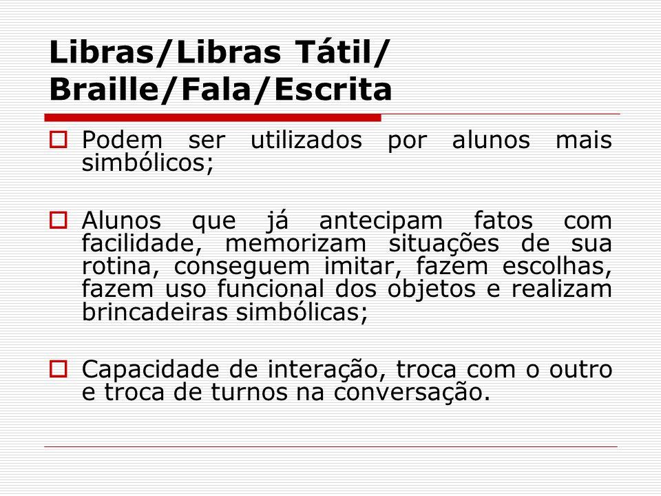 Libras/Libras Tátil/ Braille/Fala/Escrita Podem ser utilizados por alunos mais simbólicos; Alunos que já antecipam fatos com facilidade, memorizam sit
