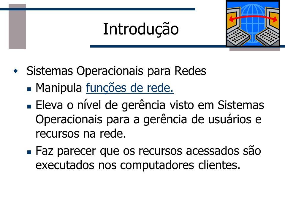 Sistemas Operacionais para Redes Manipula funções de rede.funções de rede. Eleva o nível de gerência visto em Sistemas Operacionais para a gerência de