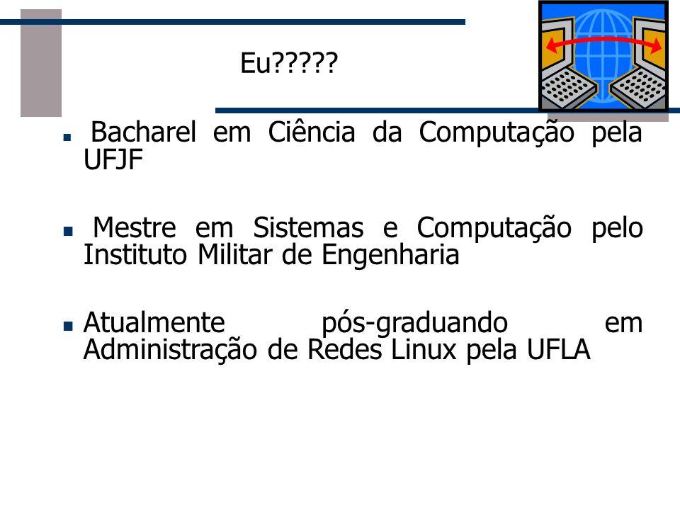 Eu????? Bacharel em Ciência da Computação pela UFJF Mestre em Sistemas e Computação pelo Instituto Militar de Engenharia Atualmente pós-graduando em A